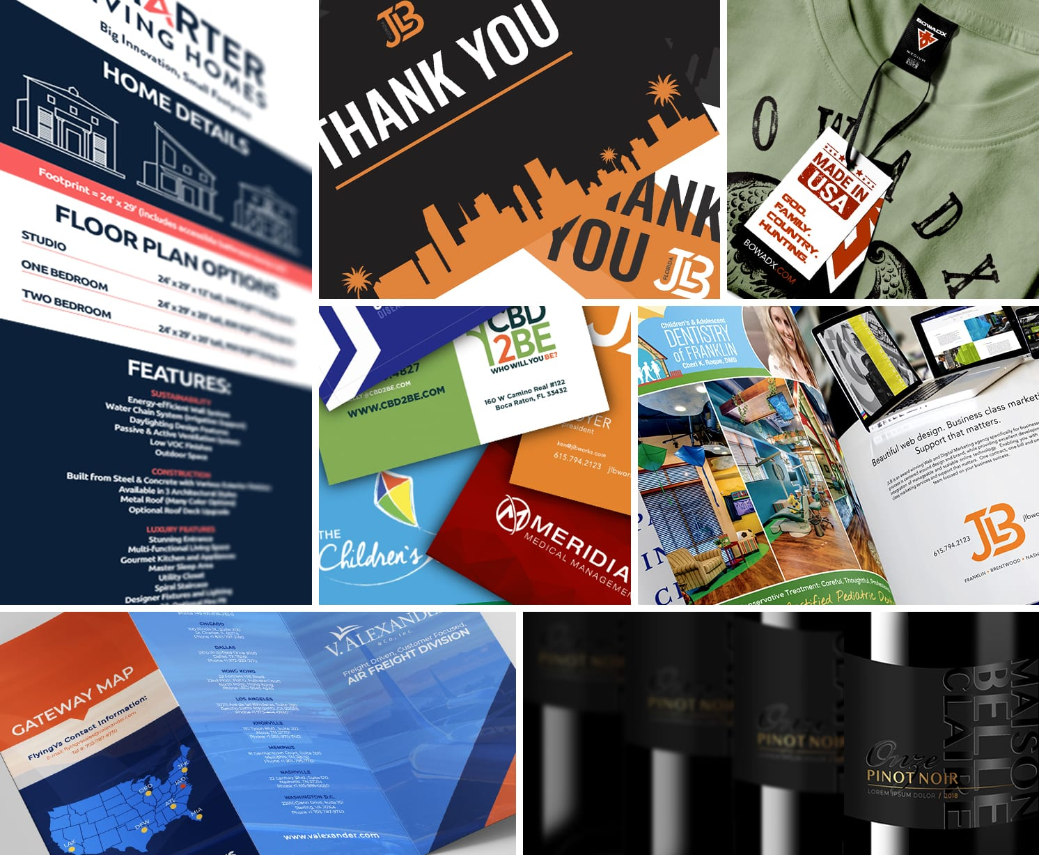Nashville Graphic design collage for JLB which is the Best Nashville Web Design company, serving Brentwood and Franklin TN with Web Design, SEO, Web Support and Inbound Marketing services all in-house.