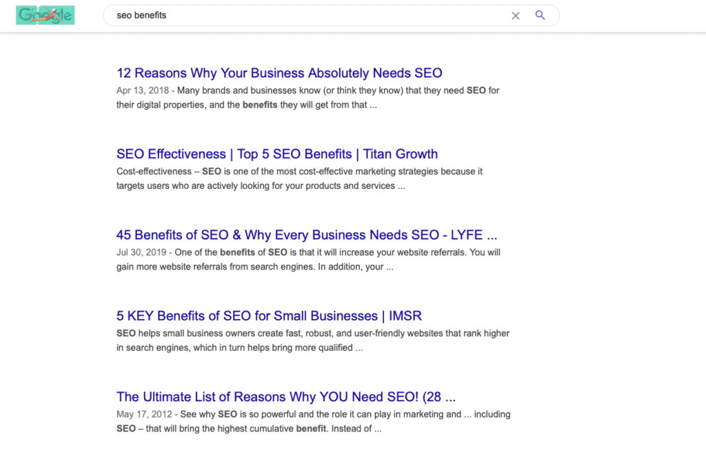 Example of SEO benefits from a website with clear content
